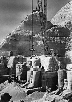 Moving of Abu Simbel temple in Aswan because of the rise of Nile level, September 23, 1968