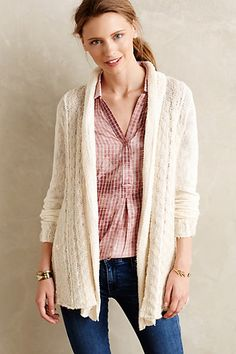 Silvered Braid Cardigan - anthropologie.com Looks like you can get quite cozy and snuggly with this sweater.
