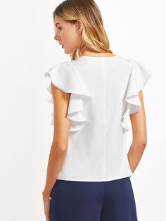 578224a5 Ruffle Sleeve Blouses Women White O Neck Elegant Summer Tops New Fashion  Slim OL Clothing Brief Casual Blouse