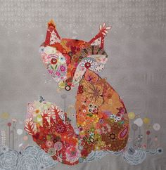 Freida Collage Quilt. www.fiberworks-heine.com #fox #collage #animal #quilt. Kits available!