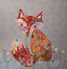Freida Collage Quilt. www.fiberworks-heine.com #fox #collage #animal #quilt. Kits available!