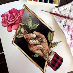 тату эскиз роза