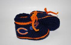 Bears Style Booties  Handmade Crochet Baby NFL by anniekscreations