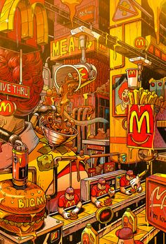 Supersize Them: Fast Food Illustrations by Mr. Misang Supersize Them: Fast Food Illustrationen von Mr. Misang & Inspiration Grid & Design Inspiration The post Supersize Them: Fast-Food-Illustrationen von Mr. Misang & Art appeared first on Food . Pop Art Wallpaper, Trippy Wallpaper, Food Wallpaper, Cartoon Wallpaper, Iphone Wallpaper, Artistic Wallpaper, Kawaii Wallpaper, Galaxy Wallpaper, Food Illustrations