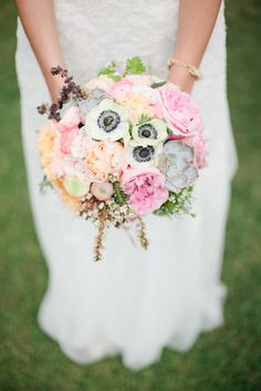 bouquet with anemone // photo by Mallory Morgan Photography // http://ruffledblog.com/west-texas-cornfield-wedding