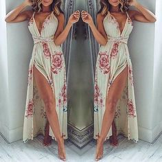Trendy High Side Slit Floral Maxi Dress