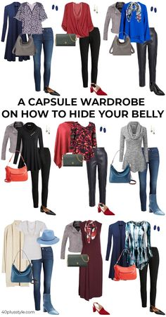 How to hide your belly with fabulous clothes - hide that tummy! Dress To Hide Belly, Dresses To Hide Tummy, Apple Body Shape Outfits, Apple Shape Fashion, Fashion Capsule, Fashion Wear, Fashion Outfits, Casual Winter Outfits, Stylish Outfits