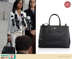 Olivia's black Prada bag on Scandal.  Outfit Details: http://wornontv.net/37207/ #Scandal