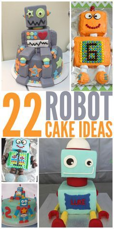 Robot cake ideas for a robot-themed birthday party or baby shower