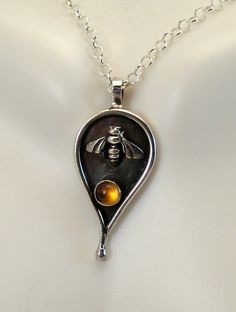 Sterling Silver and Citrine Bee Pendant Honey by LauraRoberson...pinned by ♥ wootandhammy.com, thoughtful jewelry.