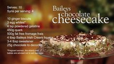 Slimming World Baileys chocolate cheesecake recipe – 4 Syns astuce recette minceur girl world world recipes world snacks Slimming World Cheesecake, Slimming World Cake, Slimming World Desserts, Slimming World Recipes, Slimming Workd, Baileys Cheesecake, Chocolate Cheesecake Recipes, Chocolate Cake, Slimming World Puddings