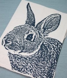 Fuzzy Bunny in Navy - Hand Printed Flour Sack Tea Towel (Unbleached Cotton), via Etsy.