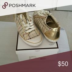 Authentic Coach tennis shoes Coach graffitti cream/gold multi shoe (black scuffs on sole) Shoes Sneakers