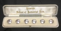 Keswick school ksia white metal boxed set of stud buttons Metal Box, Arts And Crafts, Pearl Earrings, Pearls, Buttons, Jewelry, School, Pearl Studs, Jewlery