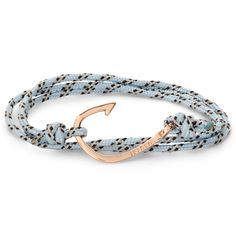 Light-blue and black utility rope wrap-around bracelet from Miansai with a metal fishing-hook closure and adjustable length. Give your outfit nautical charm with this handmade bracelet. Whether worn with a suit or a sweater, it'll add flair to your look