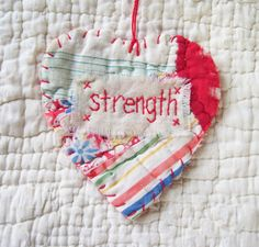 strength heart snippet made from vintage quilt pieces by Wordz of Life