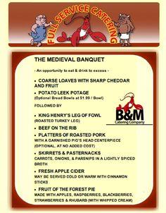 Medieval Banquet by B&M Catering - Coarse bread loaves, potato leek potage, beef, turkey leg, roast pork, pasternacks and more.  #wedding #reunion #event #menu  www.clambakeco.com