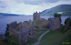 Urquhart Castle on the banks of Loch Ness - the castle was destroyed by the troops that held it so that the enemy could not use it as a fortress.
