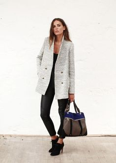 Leather leggings + black tee + light grey textured coat + suede booties + colour block tote