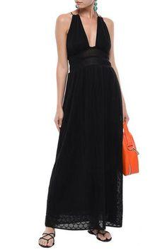 M Missoni Woman Gathered Crochet-knit Cotton-blend Maxi Dress Black Dress Outfits, Fashion Outfits, Denim Shop, Jacket Dress, Missoni, Knitwear, Luxury Fashion, Dress Black, Formal Dresses