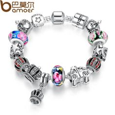 Authentic 925 silver Retro Fashion Crown Pendants Colorful Murano Beads Bracelets for Christmas Present PA1868