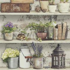 Vliesové tapety na stenu Virtual Vision vintage Provance Cheap Wallpaper, Potting Sheds, Cute Room Decor, Bude, Provence, Hygge, Planter Pots, Ornament, Dream Life
