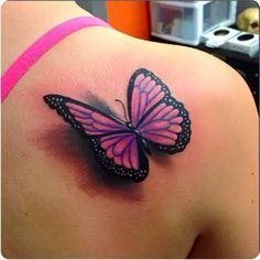 If you're looking for 3d, tiny, large, geometric, dreamy, delicate tattoo ideas in black ink or color, let these butterfly designs inspire your next piece of body art. Purple Butterfly Tattoo, Butterfly Tattoo Cover Up, Butterfly Tattoo On Shoulder, Back Of Shoulder Tattoo, Butterfly Tattoo Designs, Butterfly Design, Tattoo Designs Men, Bild Tattoos, Neue Tattoos