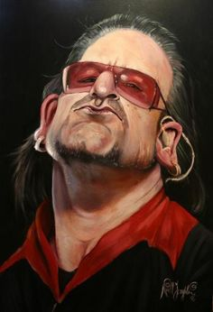Bono - - Music Caricature, Illustration of a Rack Star. Cartoon Faces, Funny Faces, Cartoon Art, Caricature Artist, Caricature Drawing, Drawing Art, Funny Caricatures, Celebrity Caricatures, Celebrity Drawings