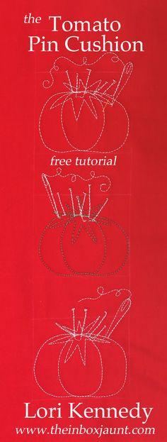 Tomato Pin cushion  FREE tutorial Lori Kennedy www.theinboxjaunt.com