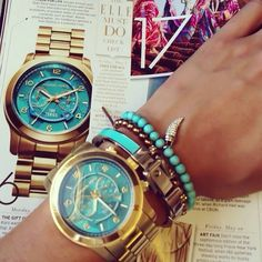 Michael Kors Turquoise Gold Watch kate spade new york stud earrings Michael Kors signature tote (on sale) Arm candy Outlet Michael Kors, Michael Kors Watch, Jewelry Accessories, Fashion Accessories, Fashion Jewelry, Gold Jewelry, Jewellery, Summer Accessories, Summer Jewelry