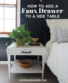 All you need is some trim, wood glue and handles or knobs to add a faux drawer to your side table. It will only take a little bit of time and effort to completely transform your old end tables into something worth keeping.