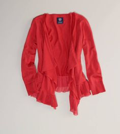 A flattering, warm color to brighten the winter blues. Coral cardy by American Eagle Outfitters