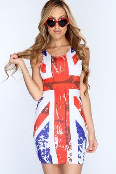 Look perfectly pretty for your next party when you add this saucy dress to your look! Its perfect for any occasion! Make sure you add this to your closet, it definitely is a must have! The features include a Union Jack Print in a bodycon fitted design, sleeveless, and scoop neck. 95% polyester/5% spandex