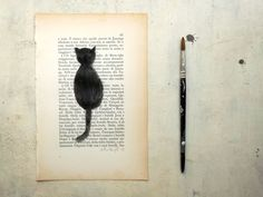 black cat portrait painting original watercolor  and tempera on page of antique book, ready to ship, Mr Blacktie - black friday cyber monday by vumap on Etsy