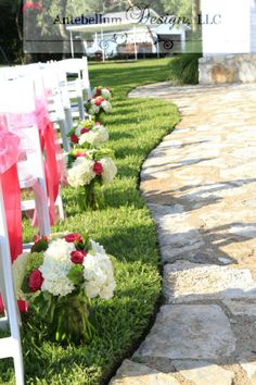 Hot Pink And Green Wedding Flowers For Aisle Decor By Dallas Florist AntebellumDesign