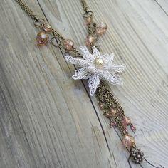 Dahlia  White Flower Necklace  Wire Crochet by ColorwayJewelry, $65.00