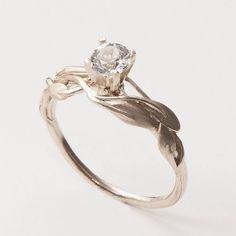 Leaves Engagement Ring - 14K White Gold and Diamond engagement ring, leaf ring, filigree, antique, art nouveau, vintage