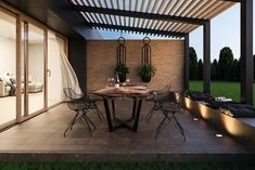 Cosy and modern brick terrace Pergola Patio, Pergola Kits, Outside Seating, House Tiles, Southern Italy, Warm Colors, Home And Family, Sweet Home, Outdoor Structures