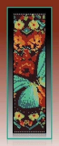 """This listed pattern for """"Turquoise Butterfly"""" was created in Even Count, Peyote stitch using Miyuki Delica, size 11 seed beads."""