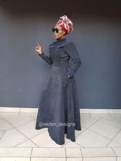 Black Dresses @nedim_designs on Instagram or +27829652653 African Print Dresses, African Fashion Dresses, African Dress, Curvy Fashion, Modest Fashion, Fashion Outfits, African Traditional Dresses, Traditional Outfits, African Attire