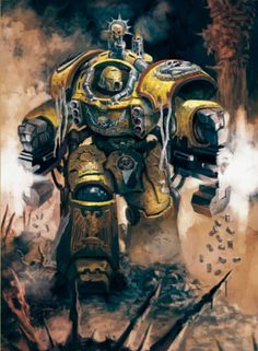 Space Marine of the Imperial Fists' 9th Company wearing Centurion Armour.