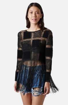 Main Image - Topshop Fringed Crochet Top
