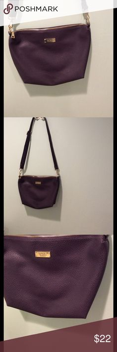 BCBG Dark Purple Pebbled Faux Leather crossbody BCBG Dark Purple Pebbled Faux Leather crossbody. Adjustable strap. Worn a few times, like new! One interior zipper pocket and two pouches. Measures: 13 inches wide x 10 inches tall. BCBG Bags Crossbody Bags