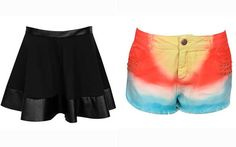 Saia com couro fake na barra - R$ 99,90 Short jeans com lavagem degradê - R$ 119,90