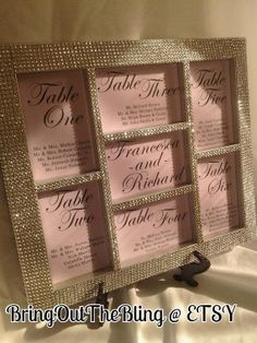 Hey, I found this really awesome Etsy listing at http://www.etsy.com/listing/114327330/silver-bling-wedding-seating-chart