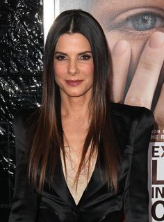 Sandra Bullock sports a super-straight hairstyle