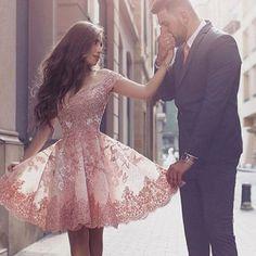2017 Off Shoulder Homecoming Dresses, Lace Applique Short Prom Dresses, Pink Party Dresses, Graduation Dresses  #SIMIBridal #promdresses