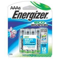 Energizer XR92BP-6 EcoAdvanced AAA Alkaline Batteries, Pack of 6