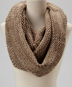 Take a look at this Taupe & Brown Knit Infinity Scarf on zulily today!