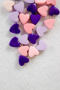 Polymer Clay Heart Charms Set of 5 by Emariecreations on Etsy